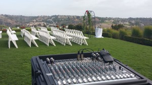 Small Mixer Setup for Outdoor Ceremony at the Crossings Carlsbad, Ca